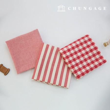 棉布混色奥伯(Ombre)染料水洗布广泛复古/仿旧格子条纹素色3种红色