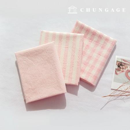 纯棉面料混色Ombre染料水洗布广泛复古/仿旧格子条纹素色3种粉色