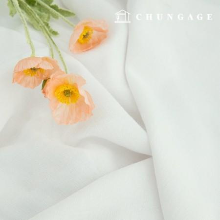 双层纸薄纱水洗棉宽幅面料纯白茶