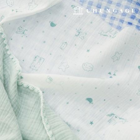 双层纱布Yoru面料棉质非荧光布制作抹布薄荷线动物