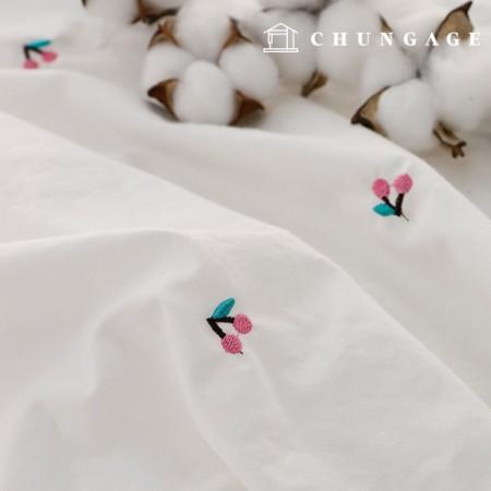 水洗木刺绣织物樱桃醇厚的宽1/2麻E-003