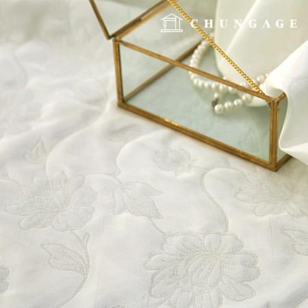 提花面料花卉图案Blanc