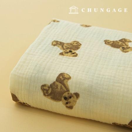 双层纱布Yoru面料纯棉无荧光洗碗布制作Creamy Bear
