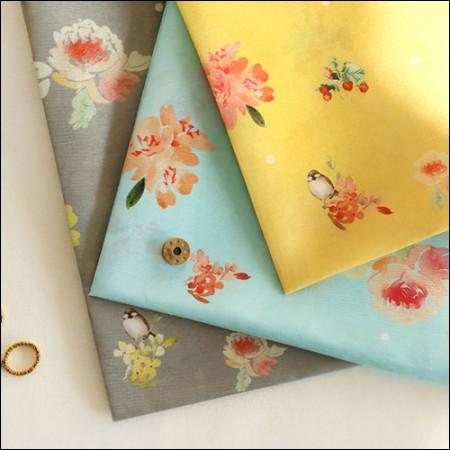 韓服の生地バードフラワーポリ韓千チョルリクフラワー花柄3種