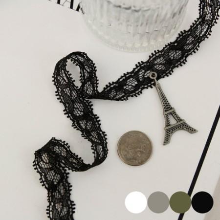[3麻]スパンメッシュレース)ベルリタ_10mm(4種) - ヘアバンド、ブレスレットに活用する良いマスクストラップ作成