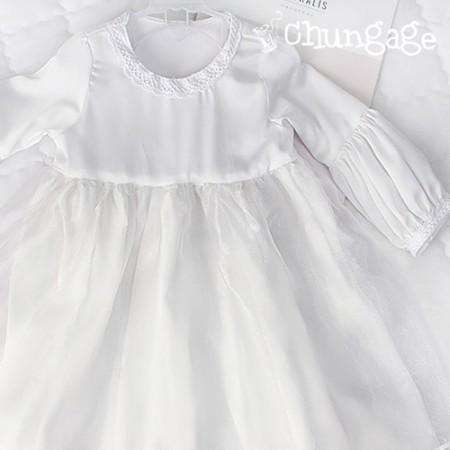 大幅沙田水シルクホワイトドレス