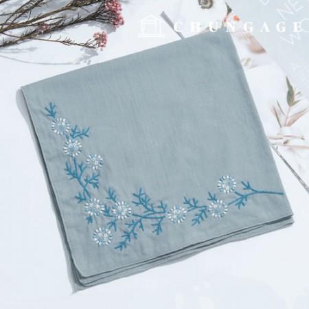 フランスの刺繍パッケージお花DIYキット雪お花ハンカチ青色CH-513501、自宅でできる趣味