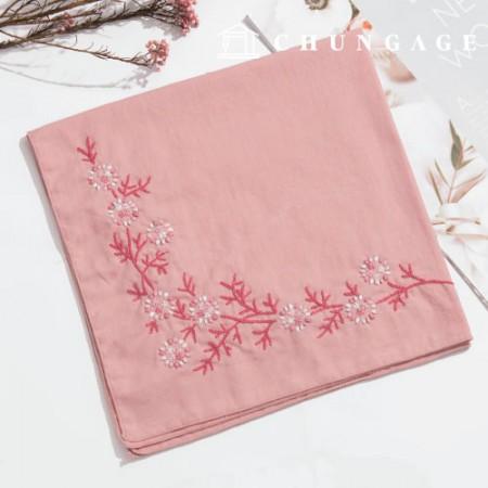フランスの刺繍パッケージお花DIYキット雪お花ハンカチピンクCH-513502、自宅でできる趣味