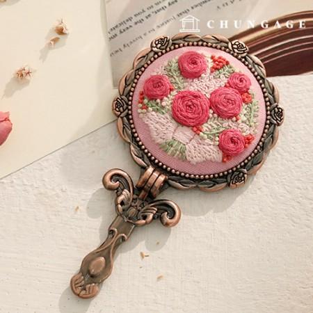 フランスの刺繍パッケージお花DIYキットピンクの花鏡CH-512008、自宅でできる趣味
