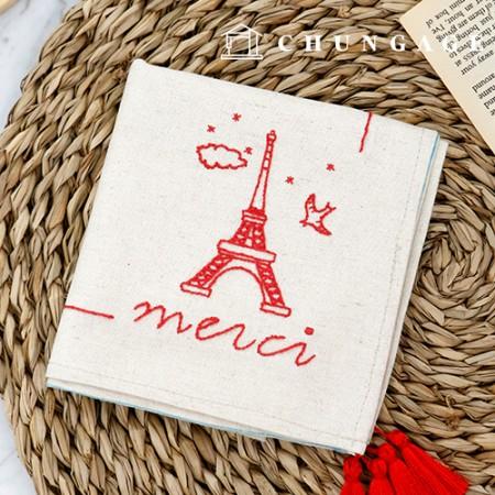 フランスの刺繍パッケージDIYキットメルシーハンカチCH-513515、自宅でできる趣味