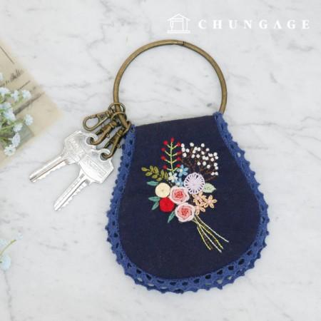 フランスの刺繍パッケージお花DIYキットお花の束キーリングポーチCH-560132、自宅でできる趣味