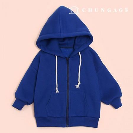 服のパターン子供のフードジップアップ子供のコート[P1463]