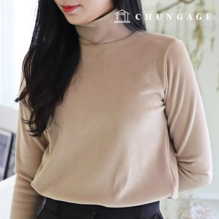 服のパターンの女性の冬のTシャツポーラシャツ[P1319]