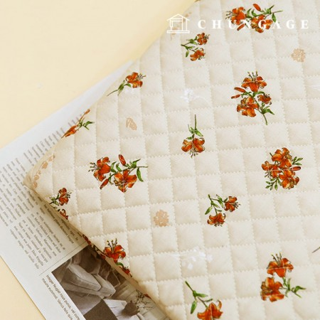 綿20数平織りコットンキルティングファブリックハイビスカス