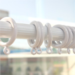 カーテンリング15mm 10個イミテーション圧縮ロッド