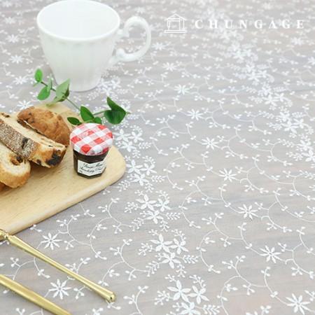 メッシレイス生地刺繍レイス千撮影千白アイボリーツリーフラワー