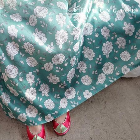 韓服の生地細かい波ポリ韓千チョルリクフラワー花柄055