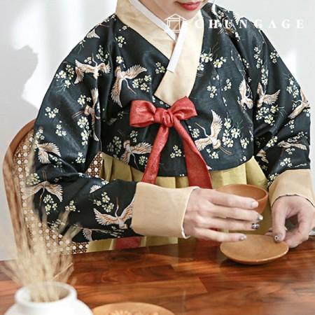 韓服生地の金白鷺ポリ韓千チョルリクフラワー花柄087
