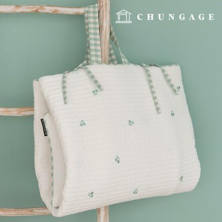 60睡眠与えるキルティング生地廣木キルティングコットン刺繍白アイボリーチェリーメロウE-021