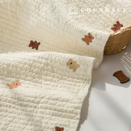 60睡眠与えるキルティング生地廣木キルティングコットン刺繍ナチュラルゴムドリE-023