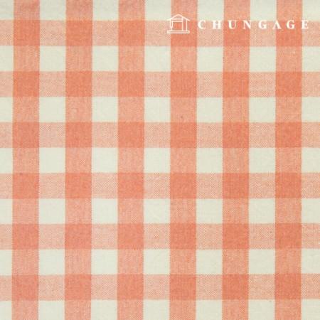 防水コットンラミネート非毒性TPU防水布大幅メランジチェック生地オレンジ436-4