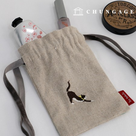 リネン刺繍生地フライングキャット大幅1/2麻E-002