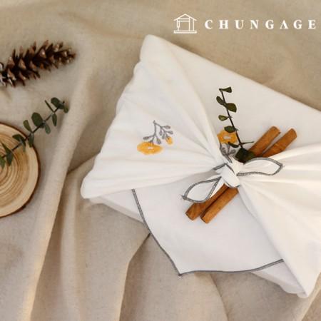 ウォッシング廣木刺繍生地パンジー大幅1/2麻E-012