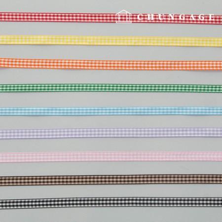 チェックリボン包装のリボンヘアピン作成マスクストラップ作成チェックリボンテープ10mm 9種