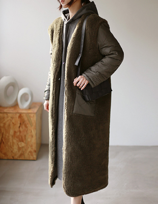 Reversible fur padding long coat - 2c