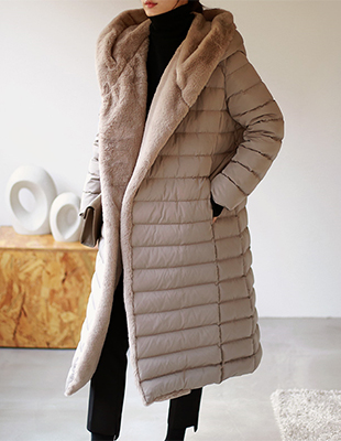 Eco Fur Hooded Long Coat - 2c