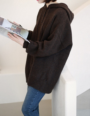 soft long hooded knit