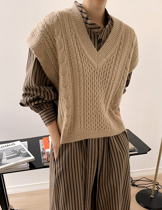 With Cable Knit Vest