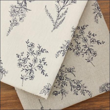 Washing Linen Fabric Wide Fabric Botanical 2 types Vintage