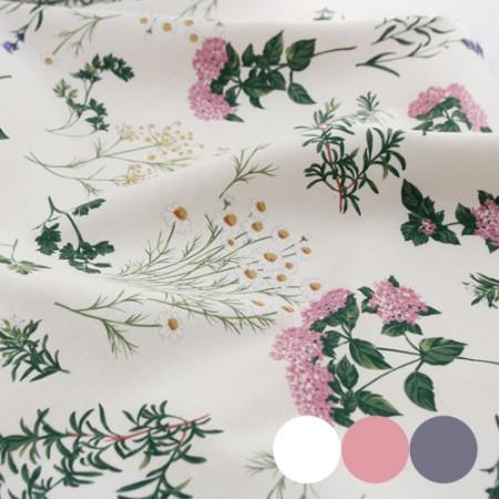 Linen Fabric Flower Patterns Natural Herb 3 Types