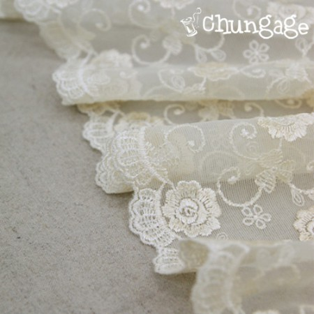 Table runner mesh lace R006 Rose flower Cream