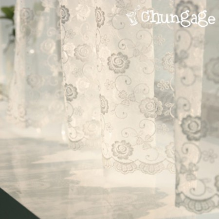 Table runner mesh lace R006 Rose Flower White