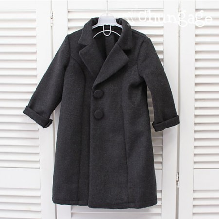 Wool) Cashmere processing Wool fabrics with smooth texture - Deep charcoal