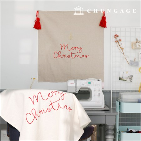 Linen embroidered cut paper fabric Merry Christmas 4 types cut paper
