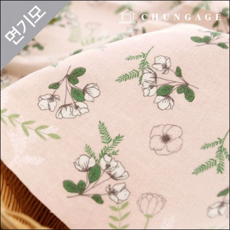 Cotton brushed microfiber winter fabric Atrium Flower