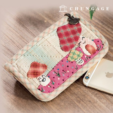 Quilted package DIY kit mushroom village cellphone wallet [CH-612871]