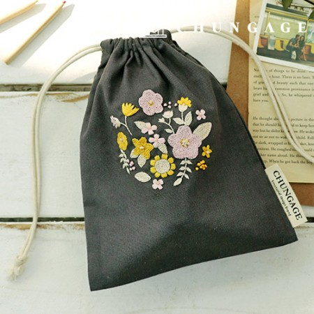 French Embroidery Package Flower DIY Kit Primula Pouch CH-560113 Hobby at Home
