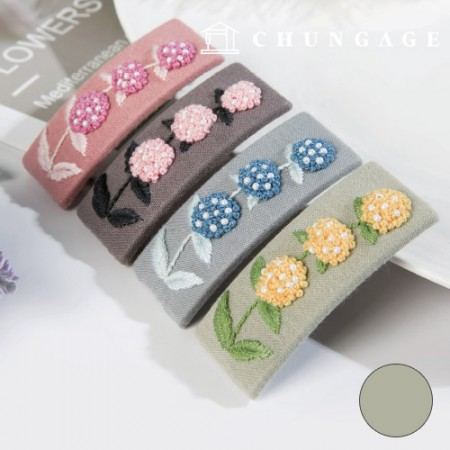 French Embroidery Package Flower DIY Kit Hydrangea Hairpin Green CH-512522A Hobby at Home