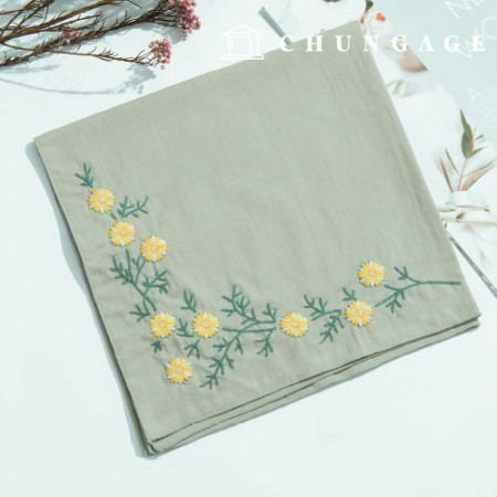 French Embroidery Package Flower DIY Kit Snowflake Flower Handkerchief Green CH-513503 Hobby at Home