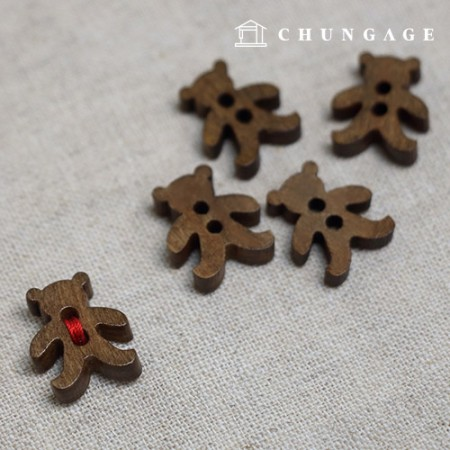 Wood Buttons Mini Bear Vintage Brown Wood Buttons 5EA