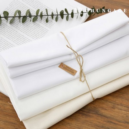 Wide 40-piece Fabric Cotton Twill Fabric White Plain 3 Types