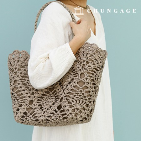 Knitted Shoulder Bag Race Shopping Bag Bag Artificial Flowerpot 2size