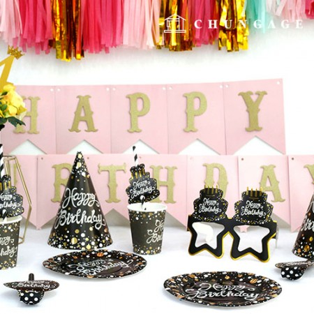 Party Supplies Tableware Set Gold Black (6 persons)