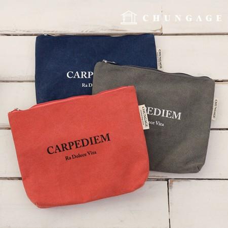Cotton Pouch Canvas Pouch Clutch Carpe Diem, 3 types