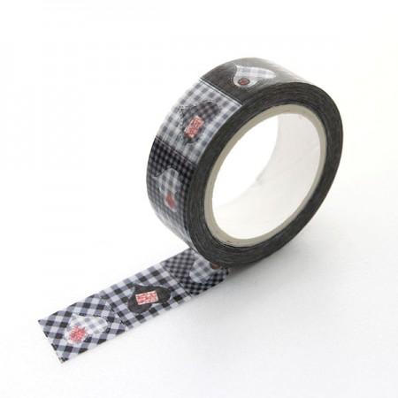 Design Paper Masking Tape Black Check Heart TA076