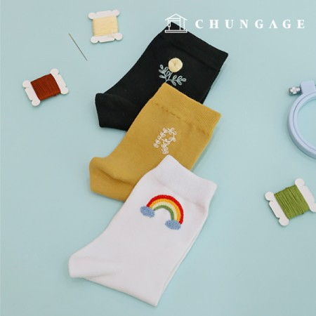 French Embroidery Package Flower DIY Kit Men and Women Embroidery Socks Black White Mustard 3 Pieces CH-560201A Hobby at Home